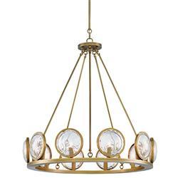 Lighthouse Coastal Beach Glass Prism Brass Chandelier