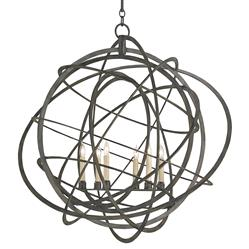 Atomic Modern Loft Black Iron Orb Chandelier