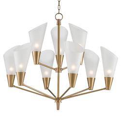 Brumley Modern Opaque Glass Mid Century Brass Chandelier