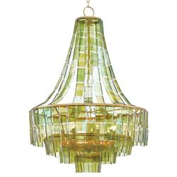 Rodger Modern Recycled Green Wine Glass Chandelier