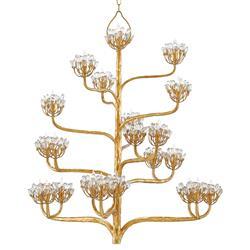 Camellia Regency Floral Cluster Gold Leaf Chandelier
