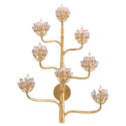 Camellia Regency Floral Cluster Gold Leaf Wall Sconce