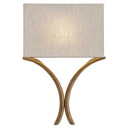 Lexie Modern Classic Natural Linen Gold Leaf Sconce