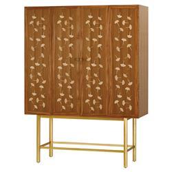 Gobi Global Gingko Leaf Inlaid Teak Wood Cabinet