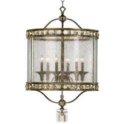 Buckingham Victorian Champagne Crystal 6 Light Entryway Chandelier