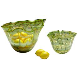 Small Light Green Yellow Scalloped Edge Glass Fruit Bowl | CYAN-04776