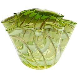 Coastal Beach Light Green Yellow Scalloped Edge Glass Fruit Bowl - 10.5 Inch