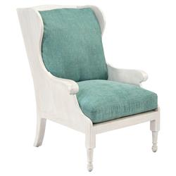 Anders Coastal Beach Teal White Washed Wing Chair