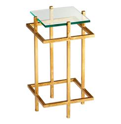 Contemporary Gold Leaf Gallery Glass End Table | Kathy Kuo Home