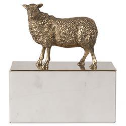 Simon Hollywood Regency Gold Iron Top White Marble Base Decorative Box