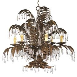 Largo 6 Light Antique Brass Palm Frond Coastal Beach Crystal Chandelier