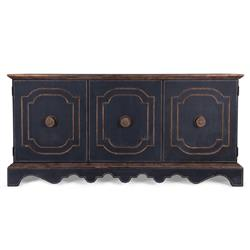 Dmitri Regency Rustic Black Gilded Wood Buffet