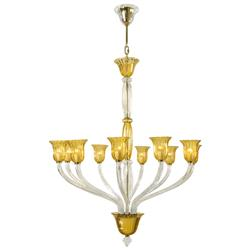 Vetrai Amber Clear Murano Glass Style 10 Light Chandelier | CYAN-6509-10-00
