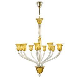 Vetrai Amber Clear Murano Glass Style 10 Light Chandelier
