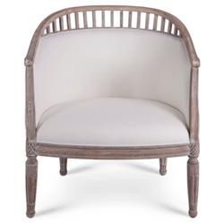 Leila French Country Ivory Linen Upholstered Brown Wood Living Room Chair