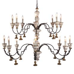 Arjan French Rustic Cream Gold 2 Tier Chandelier