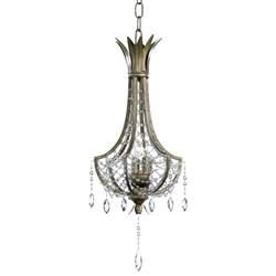 Luciana Antique Gold Brass Art Deco Crystal 3 Light Pendant Chandelier