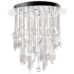 Round Mirabella Clear Glass Murano Style Cascade 4 Light Ceiling Mount