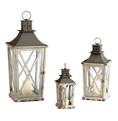 Set of 3 Cornwall Rustic Weathered Wood Metal Candle Lanterns | CYAN-04723