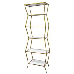 Oly Studio Astro White Enamel Antique Gold Etagere