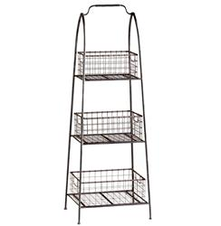 Essex Farmhouse Cottage Floor Standing Basket Shelf | CYAN-04725