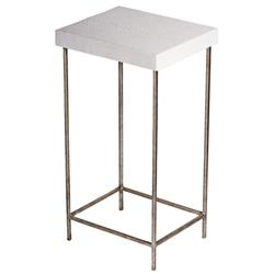 Oly Studio  Baby George Faux White Snakeskin Silver End Table