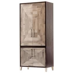 Oly Studio Parker Mosaic Mid Century Brown Wood Inlaid Geometric Pattern Armoire