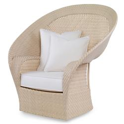 Bismark Beach Ivory Woven Sand Outdoor Swivel Chair