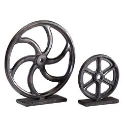 Large Industrial Loft Iron Mechanics Wheel Sculpture | CYAN-04730