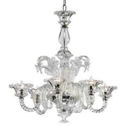 "La Scala 30""D Clear Murano Glass Style 6 Light Chandelier 