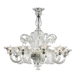 La Scala 35 Inch Clear Murano Glass Style 8 Light Chandelier