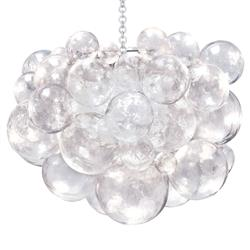Oly Studio Muriel Clear Resin Bubbled Silver Chain Chandelier