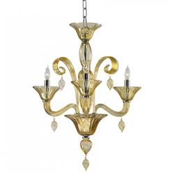 Treviso 3 Light Cascade Amber Murano Glass Mini Chandelier