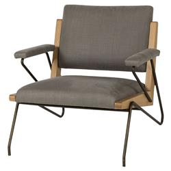 Colton Loft Grey Linen Steel Oak Armchair