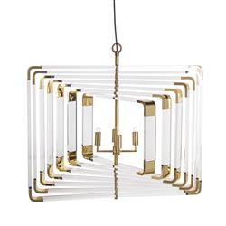 Nellcote Spiral Hollywood Regency Spiral Brass Acrylic Chandelier