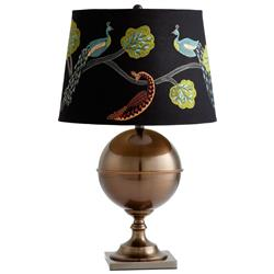 Vanderbilt Embroidered Peacock on Branch Antique Brass Table Lamp