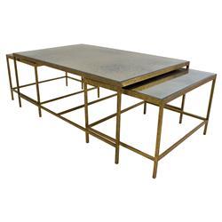 Oly Studio Jonathan Gold Mirrored Nesting Rectangular Coffee Table - Set of 3