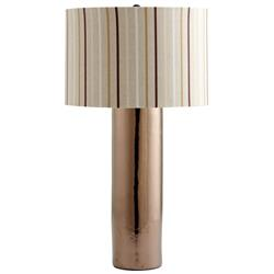 Soho Contemporary Metallic Bronze Neutral Stripe Shade Table Lamp | CYAN-04850