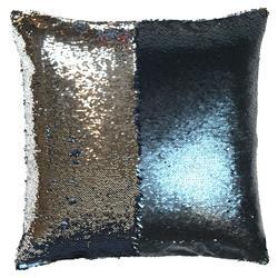 Finn Modern Indigo Silver Sequin Mermaid Pillow - 20x20