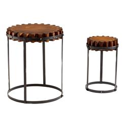 Set of 2 Landry Rustic Wood Farmhouse Gear End Tables | CYAN-04912