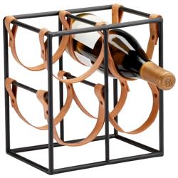 Small Brighton Rustic Farmhouse Iron Leather Wine Rack Holder | CYAN-04913