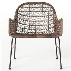 Elena Coastal Beach Grey Woven Wicker Iron Outdoor Woven Club Chair
