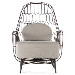 Albin Loft Iron Rattan Outdoor Wing Chair