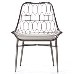 Albin Scooped Metal Outdoor Dining Chair