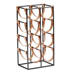 Large Brighton Rustic Farmhouse Iron Leather Wine Rack Holder | CYAN-04915