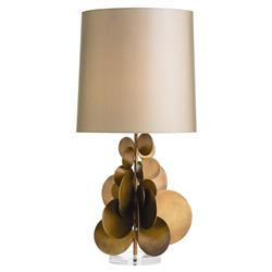 Zoya Taupe Brass Disc Table Lamp