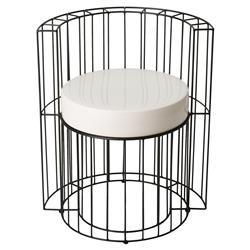 Ian Modern Caged Black White Ceramic Outdoor Chair