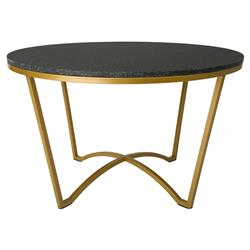 Gwen Modern Black Granite Gold Outdoor Coffee Table
