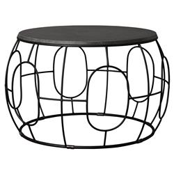 Dixie Modern Geometric Black Iron Outdoor Coffee Table