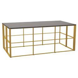 Macy Industrial Loft Gold Geometric Black Granite Rectangular Coffee Table